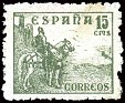 Spain - 1937 - Cid & Isabella - 15 CTS - Green - Spain, Warrior, Heroe, Animal, Horse - Edifil 819 - El Cid - 0
