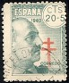 Spain - 1940 - Pro Tuberculous - 20+5 CTS - Green - Dictator, Army General - Edifil 937 - Red Lorena's Cross - 0
